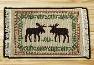 Wicker Weave Hand Print Moose Oakleaf Jute Braided Earth Rug®