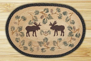 Oval Hand Printed Moose and Pinecone Braided Earth Rug®