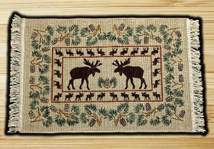 Wicker Weave Hand Print Moose Pinecone Jute Braided Earth Rug®