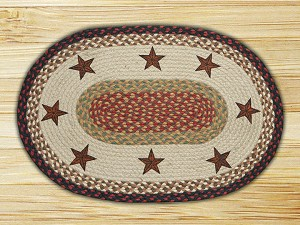 Oval Patch Barn Stars Braided Earth Rug®