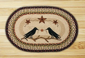 Oval Patch Crow and Barn Stars Braided Earth Rug®