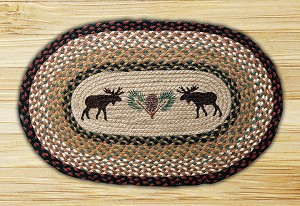 Oval Patch Moose and Pinecone Braided Earth Rug®
