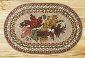 Oval Patch Autumn Leaves Braided Earth Rug®
