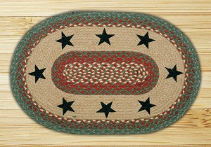 Oval Patch Green Stars Braided Earth Rug®
