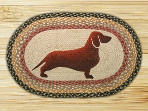 Oval Patch Dachshund Braided Earth Rug®