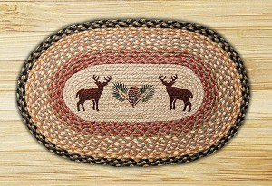 Oval Patch Deer and Pinecone Braided Earth Rug®