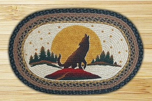 Oval Patch Wolf Howling Braided Earth Rug®