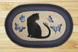 Oval Patch Cat Grasshopper Braided Earth Rug®