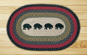 Oval Patch Black Bears Braided Earth Rug®