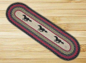 Oval Patch Horses Braided Runner Earth Rug®