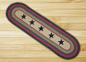 Oval Patch Stars Braided Runner Earth Rug®