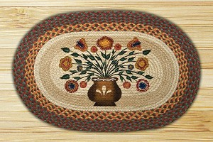 Oval Patch Penny Flowers Braided Earth Rug®