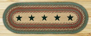 Oval Patch Green Stars Braided Runner Earth Rug®