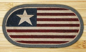 Oval Fun Size Hand Printed Original Flag Braided Earth Rug®
