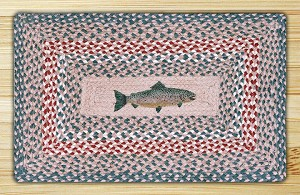 Rectangle Print Patch Fish Braided Earth Rug®