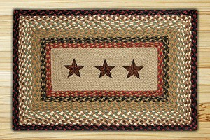 Rectangle Print Patch Barn Star Braided Earth Rug®
