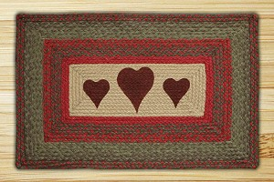 Rectangle Print Patch Hearts Braided Earth Rug®