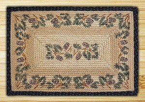Rectangle Hand Printed Pinecone Braided Earth Rug®