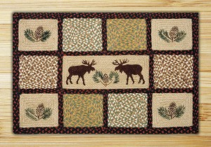 Rectangle Quilt Patch Moose and Pinecone Jute Braided Earth Rug®