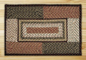 Rectangle Quilt Patch Burgundy and Mustard Jute Braided Earth Rug®