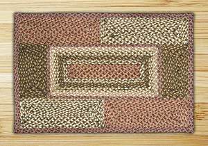 Rectangle Quilt Patch Olive Burgundy and Gray Jute Braided Earth Rug®