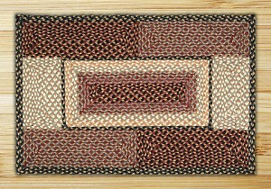 Rectangle Quilt Patch Burgundy Gray and Creme Jute Braided Earth Rug®