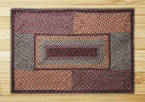 Rectangle Quilt Patch Burgundy Black and Sage Jute Braided Earth Rug®