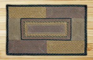 Rectangle Quilt Patch Brown Black and Charcoal Jute Braided Earth Rug®