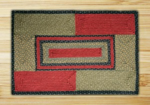 Rectangle Quilt Patch Burgundy Olive and Charcoal Jute Braided Earth Rug®