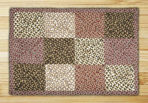 Rectangle Quilt Patch Olive Burgundy and Gray Jute Braided Earth Rug® 2
