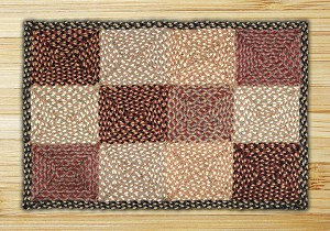 Rectangle Quilt Patch Burgundy Gray and Creme Jute Braided Earth Rug® 2