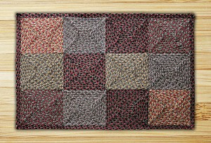 Rectangle Quilt Patch Burgundy Black and Sage Jute Braided Earth Rug® 2