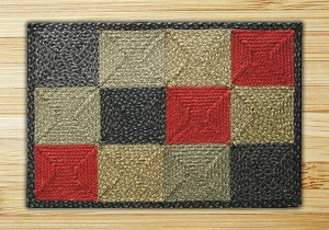 Rectangle Quilt Patch Burgundy Olive and Charcoal Jute Braided Earth Rug® 2