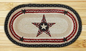 Oval Fun Size Hand Printed Quilt Patch Star Braided Earth Rug®