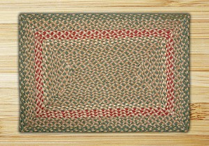 Rectangle Green and Burgundy Jute Braided Earth Rug®