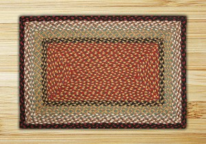 Rectangle Burgundy and Mustard Jute Braided Earth Rug®