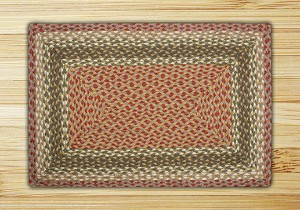 Rectangle Olive Burgundy and Gray Jute Braided Earth Rug®