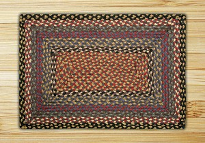 Rectangle Burgundy Blue and Gray Jute Braided Earth Rug®