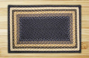Rectangle Light Blue Dark Blue and Mustard Jute Braided Earth Rug®