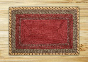 Rectangle Burgundy Green and Sunflower Jute Braided Earth Rug®