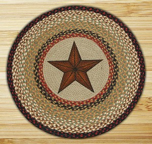Round 27 Inch Print Patch Barn Star Braided Earth Rug®