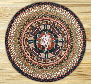 Round 27 Inch Print Patch Buffalo Skull Braided Earth Rug®
