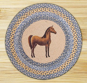 Round 27 Inch Print Patch Horse Braided Earth Rug®