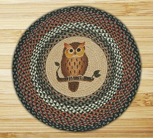 Round 27 Inch Print Patch Owl Braided Earth Rug®
