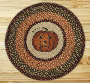 Round 27 Inch Print Patch Jack-O-Lantern Braided Earth Rug®