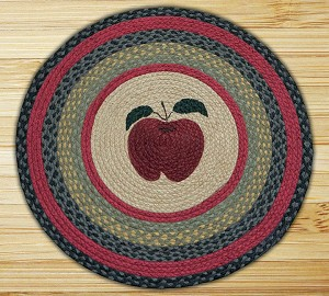 Round 27 Inch Print Patch Apple Braided Earth Rug®