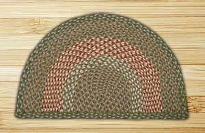 Rug Slice Green and Burgundy Jute Braided Earth Rug®