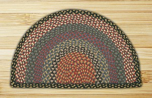 Rug Slice Burgundy Blue and Gray Jute Braided Earth Rug®