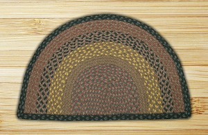 Rug Slice Brown Black and Charcoal Jute Braided Earth Rug®