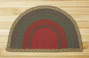 Rug Slice Burgundy Green and Sunflower Jute Braided Earth Rug®